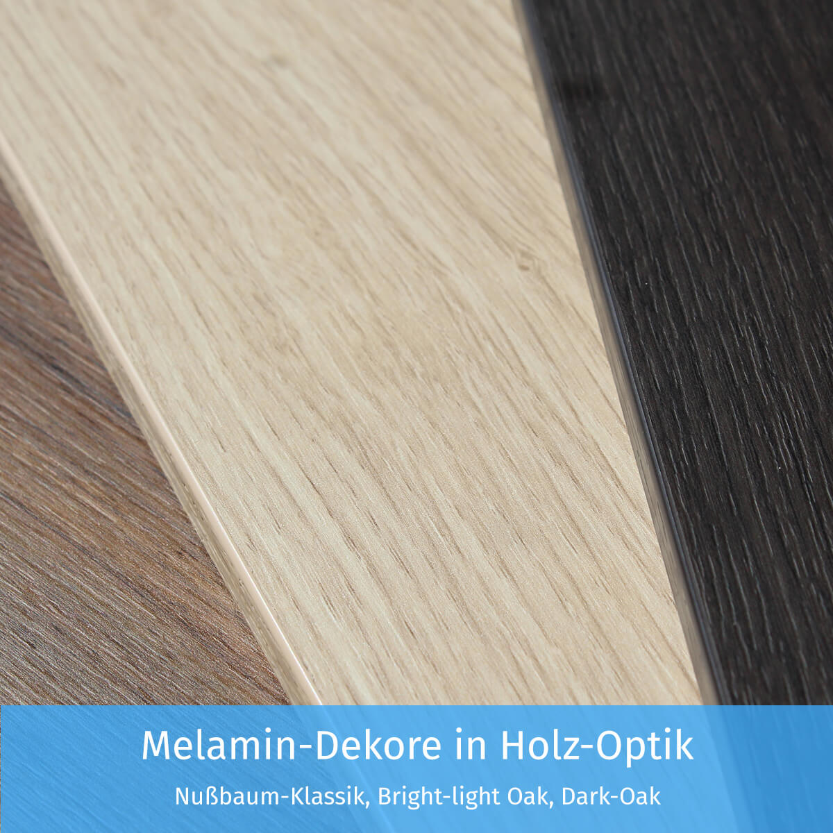 Melamin-Dekore in Holz-Optik