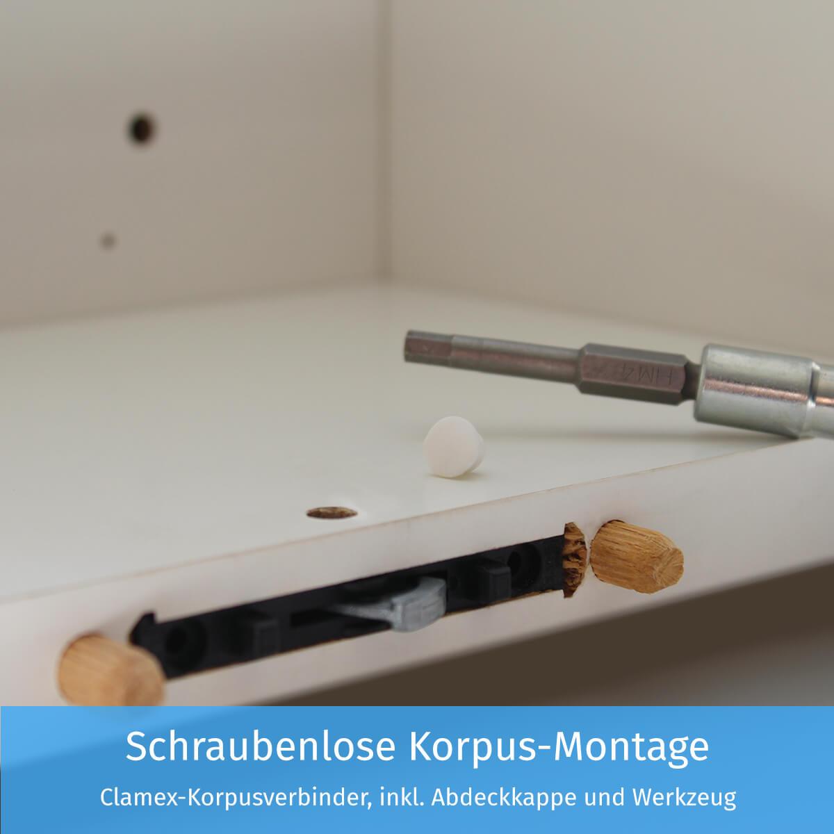 Schraubenlose Korpus-Montage