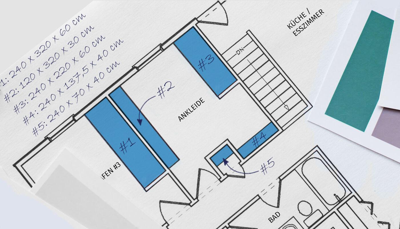 Skizze Deiner Schrankplanung
