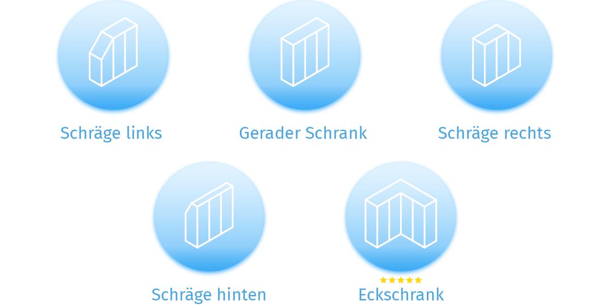Der Konfigurator mit verschiedenen Schrankformen