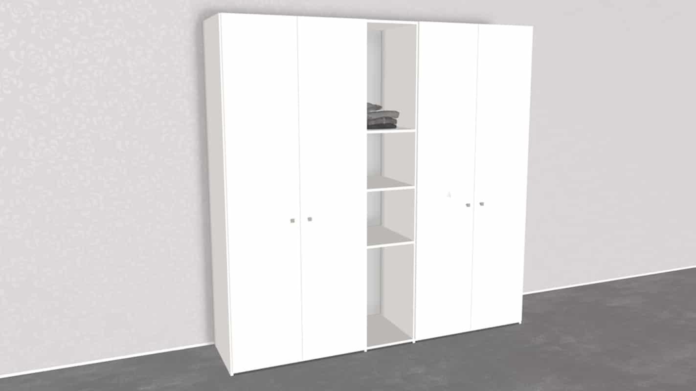 weißer Schrank individuell mit Drehtüren und Regal