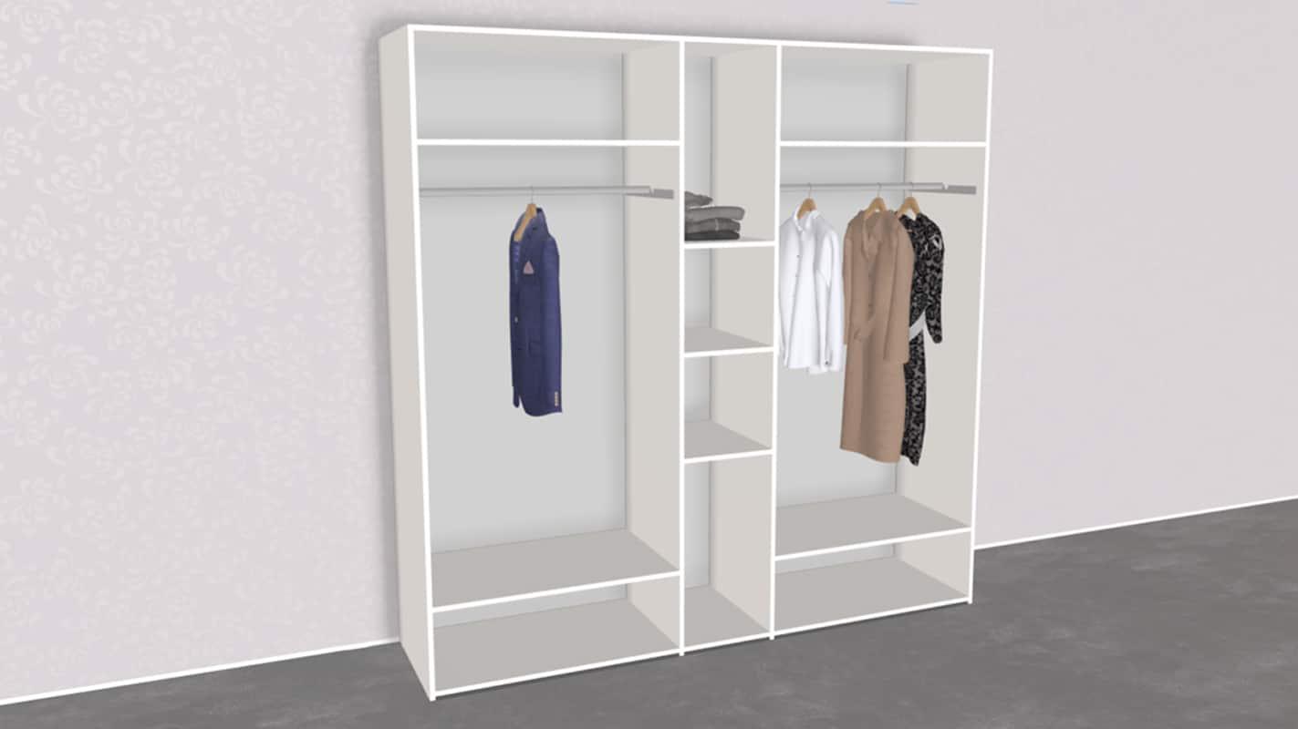 weißer Schrank offen mit Einlegeböden und Kleiderstangen